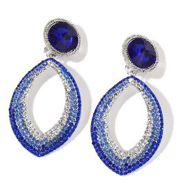 Simulated Tanzanite, Sapphire Blue and White Austrian Crystal Clip On Earrings