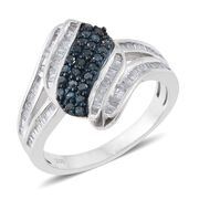 Blue Diamond (Rnd), White Diamond Ring in Platinum Overlay Sterling Silver 0.750 Ct.