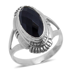 Royal Bali Collection Boi Ploi Black Spinel (Ovl) Solitaire Ring in Sterling Silver 6.720 Ct.