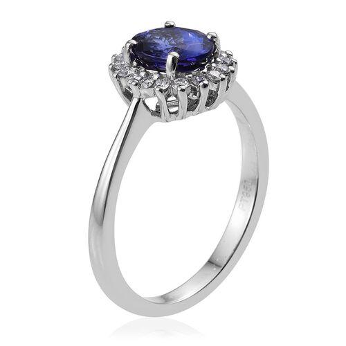 RHAPSODY 950 Platinum 1.70 Carat AAAA Tanzanite Oval Halo Ring, Diamond VS E-F.