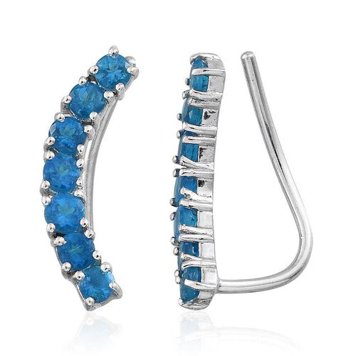 Malgache Neon Apatite (Rnd) Climber Earrings in Platinum Overlay Sterling Silver 1.500 Ct.