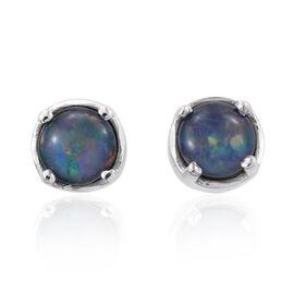 Australian Boulder Opal (Rnd) Stud Earrings (with Push Back) in Platinum Overlay Sterling Silver 1.000 Ct.