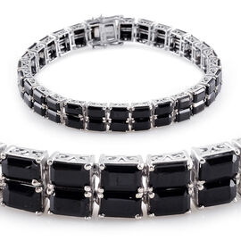 Boi Ploi Black Spinel (Oct) Bracelet (Size 7) in ION Plated Platinum Bond 40.000 Ct.