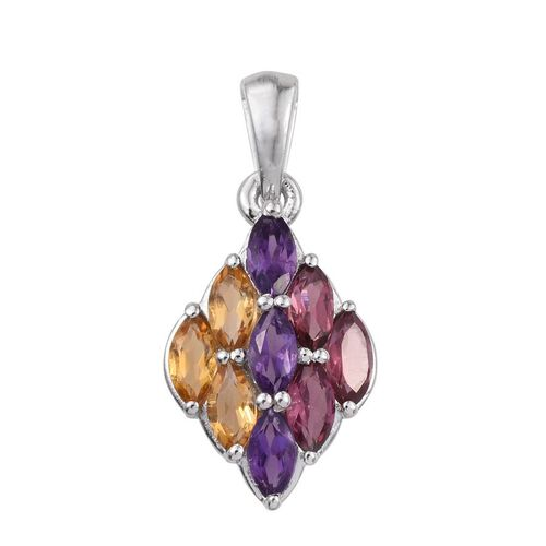 Rhodolite Garnet (Mrq), Citrine and Amethyst Pendant in Platinum Overlay Sterling Silver 2.250 Ct.