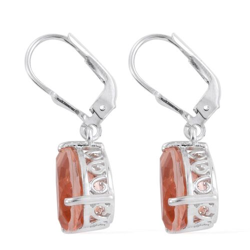 Galileia Blush Pink Quartz (Pear) Lever Back Earrings in Platinum Overlay Sterling Silver 6.500 Ct.