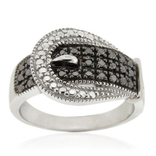 Boi Ploi Black Spinel (Rnd), White Topaz Ring in Rhodium Plated Sterling Silver 2.010 Ct.