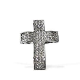 White Austrian Crystal Cross Pendant in Stainless Steel