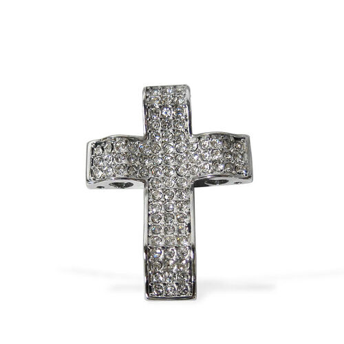 White Austrian Crystal Cross Pendant in Stainless Steel