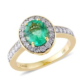 ILIANA 18K Yellow Gold 1.70 Carat AAA Boyaca Colombian Emerald Ring with Diamond SI G-H