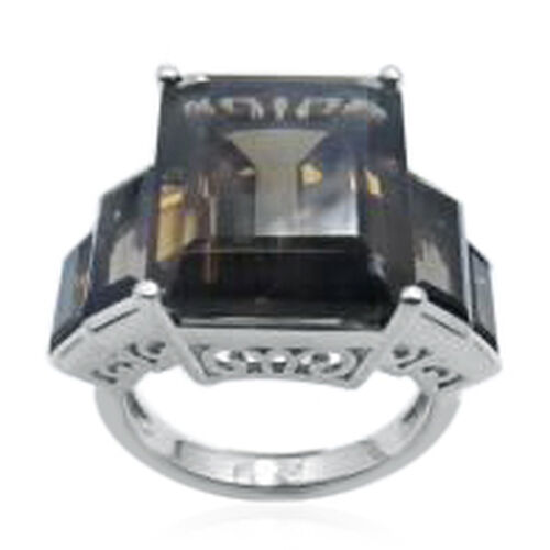 Brazilian Smoky Quartz (Oct 14.00 Ct) Ring in Rhodium Plated Sterling Silver 20.000 Ct.