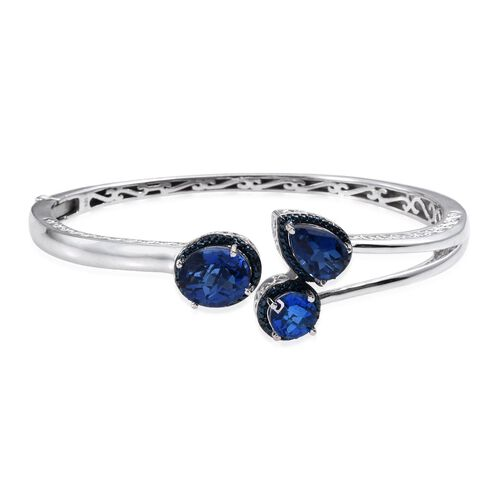 Checkerboard Cut Ceylon Colour Quartz (Ovl 5.50 Ct), Blue Diamond Bangle (Size 7.5) in Platinum Overlay Sterling Silver 11.270 Ct.