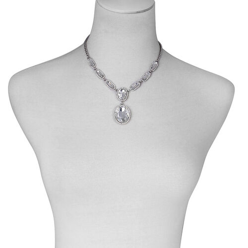 White Glass and White Austrian Crystal Necklace (Size 16 with 2 inch Extender) in Silver Tone