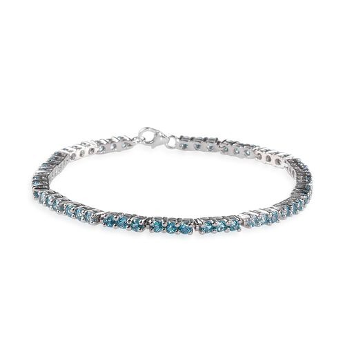 Signity Paraiba Topaz (Rnd) Bracelet in Platinum Overlay Sterling Silver (Size 8) 7.000 Ct.