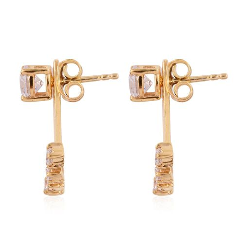 J Francis - 14K Gold Overlay Sterling Silver (Rnd) Earring (with Push Back) Made with SWAROVSKI ZIRCONIA