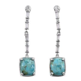 Arizona Matrix Turquoise (Cush), White Topaz Earrings (with Push Back) in Platinum Overlay Sterling Silver 8.000 Ct.