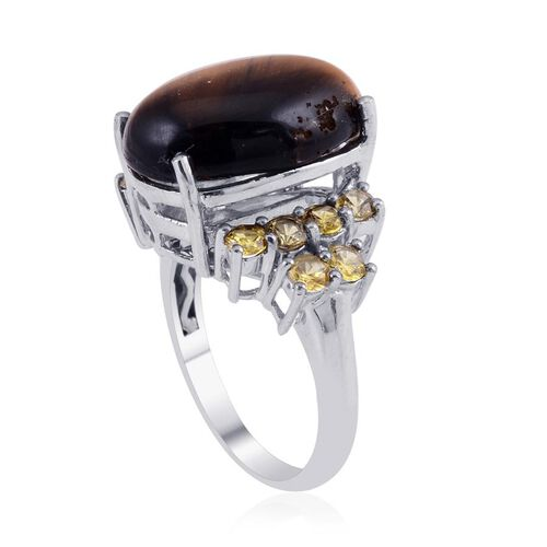 Tigers Eye (Ovl 10.50 Ct), Simulated Yellow Sapphire Ring in Platinum Bond 12.000 Ct.