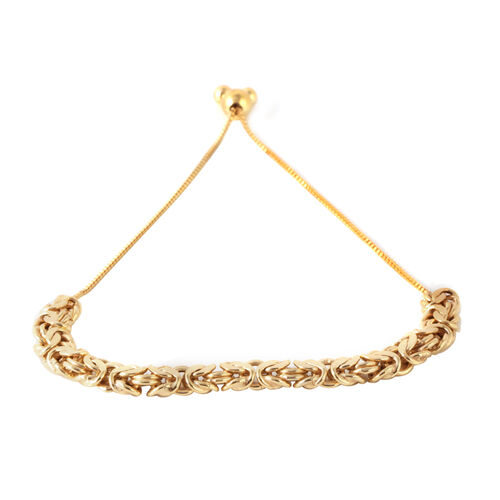 Limited Available- JCK Vegas Collection 14K Gold Overlay Sterling Silver Hand Made Byzantine Adjustable Bracelet (Size 6.5 to 9.5), Silver wt. 6.46 Gms.