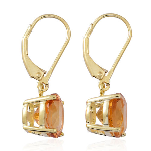 Rare AAA Uruguay Citrine (Rnd) Lever Back Earrings in Yellow Gold Overlay Sterling Silver 5.000 Ct.