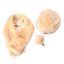Cream Colour Faux Fur Scarf (Size 100x15 Cm), Faux Fur Cap (Size 24 Cm) and Pom Pom Keychain (Size 10 Cm)