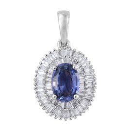 RHAPSODY 950 Platinum AAAA Ceylon Blue Sapphire (Ovl 0.75 Ct), Diamond (VS/E-F) Pendant 1.250 Ct.
