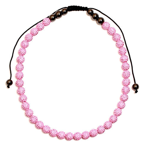 Pink Austrian Crystal and Hematite Necklace 60.000 Ct. (Adjustable)