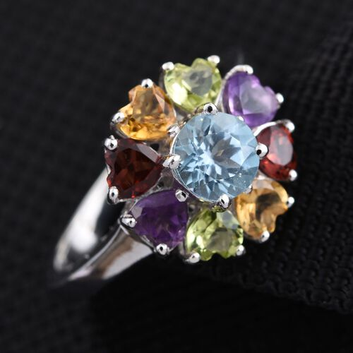 Sky Blue Topaz (Rnd 1.00 Ct), Mozambique Garnet, Hebei Peridot, Amethyst and Citrine Ring in Platinum Overlay Sterling Silver 3.250 Ct.
