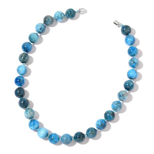 Limited Edition- Rare AAA Blue Apatite Ball Round Bead Necklace (Size 18) with Magnetic Clasp Lock in Rhodium Plated Sterling Silver 608.00 Ct.