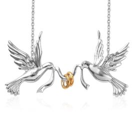 Platinum and Yellow Gold Overlay Sterling Silver Birds Necklace (Size 18), Silver wt 7.03 Gms.
