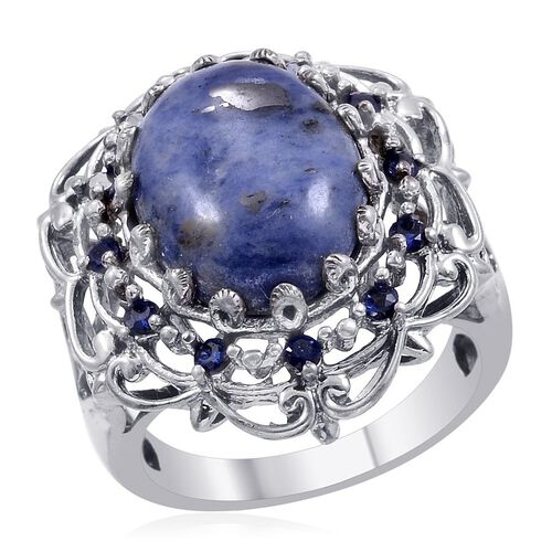 Designer Collection Sodalite (Ovl 8.50 Ct), Simulated Blue Sapphire Ring in Platinum Bond 10.300 Ct.