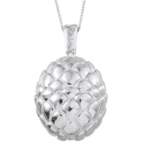 Platinum Overlay Sterling Silver Pine Cone Inspired Pendant With Chain, Silver wt 8.09 Gms.