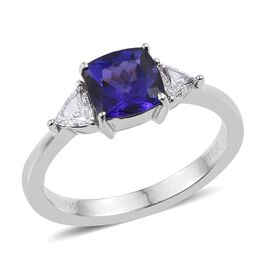 RHAPSODY 950 Platinum AAAA Tanzanite (Cush 1.70 Ct), Diamond Ring 2.000 Ct.