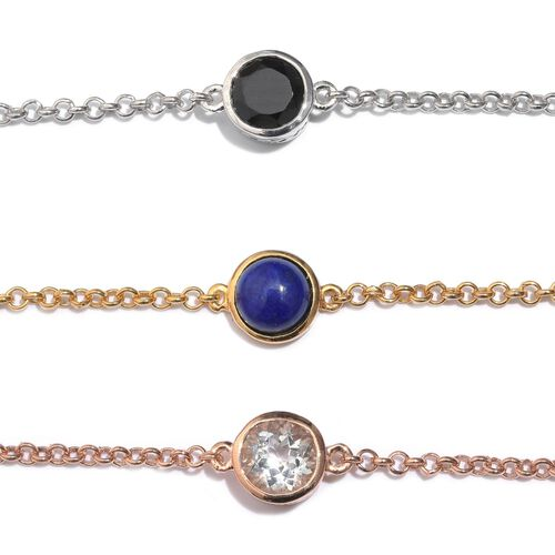 Set of 3 - Lapis Lazuli (Rnd 2.75 Ct), Boi Ploi Black Spinel and White Topaz Bracelet (Size 7.50) in Platinum, 14K Gold and Rose Gold Overlay Sterling Silver 7.250 Ct.