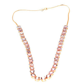 Rose De France Amethyst (Rnd) Necklace (Size 18) in Rose Gold Overlay Sterling Silver 45.000 Ct.