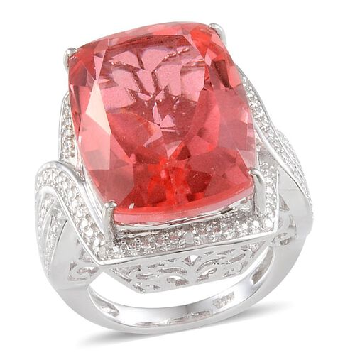 Padparadscha Colour Quartz (Cush 23.00 Ct), Diamond Ring in Platinum Overlay Sterling Silver 23.050 Ct.