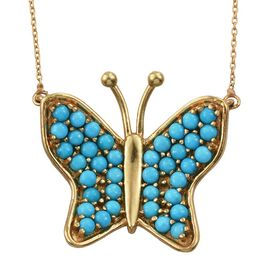AAA Arizona Sleeping Beauty Turquoise (Rnd) Butterfly Necklace (Size 18) in 14K Gold Overlay Sterling Silver 2.000  Ct.