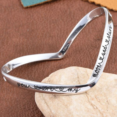 Kimberley A Wish From Me Collection Natural Cambodian Zircon (Rnd) Bangle (Size 7.5) in Platinum Overlay Sterling Silver, Silver Wt. 23.13 Gms.