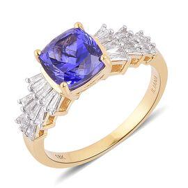 ILIANA 18K Y Gold AAA Tanzanite (Cush 3.50 Ct), Diamond Ring 4.000 Ct.