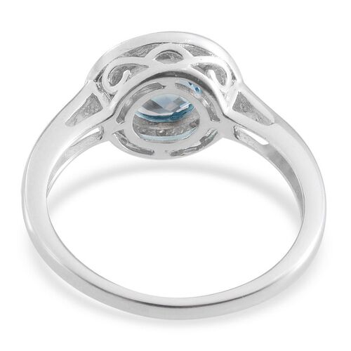 Electric Swiss Blue Topaz (Rnd 2.00 Ct), Diamond Ring in Platinum Overlay Sterling Silver 2.050 Ct.