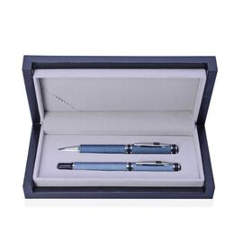 Set of 2 - Blue Satin Plated Silver Tone Ball Point and Roller Pen (Black Ink) with Black Glass in a Box