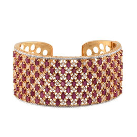 African Ruby (Ovl), White Topaz Cuff Bangle (Size 7.5) in 14K Gold Overlay Sterling Silver 30.750 Ct.