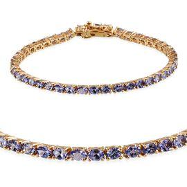 Tanzanite (Ovl) Tennis Bracelet (Size 7.5) in 14K Gold Overlay Sterling Silver 8.000 Ct.