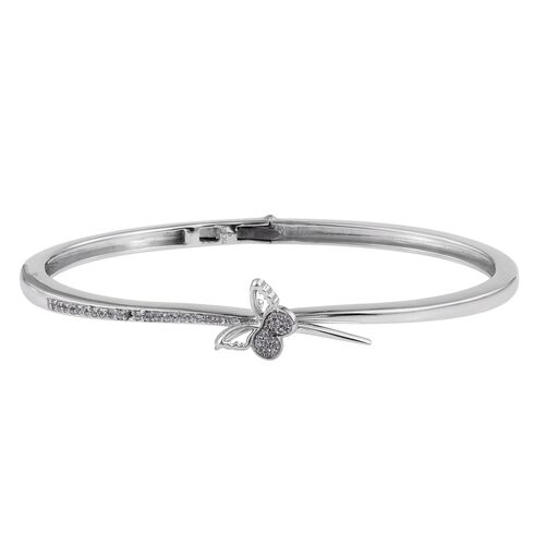 Kimberley Butterfly Collection Natural Cambodian Zircon (Rnd) Butterfly Bangle (Size 7.5) in Platinum Overlay Sterling Silver