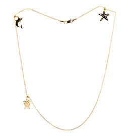 Designer Inspired-14K Gold Overlay Sterling Silver Fish, Turtle and Star Fish Necklace (Size 18), Silver wt 3.50 Gms.