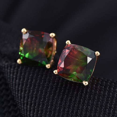 Bi-Color Tourmaline Quartz (Cush) Stud Earrings (with Push Back) in 14K Gold Overlay Sterling Silver 7.500 Ct.