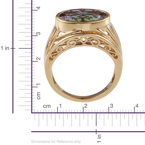 Northern Lights Mystic Topaz (Ovl) Solitaire Ring in 14K Gold Overlay Sterling Silver 10.000 Ct.