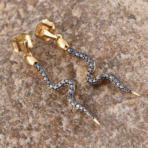 Black Diamond (Rnd) Snake Earrings (with Push Back) in 14K Gold Overlay Sterling Silver 0.050 Ct.