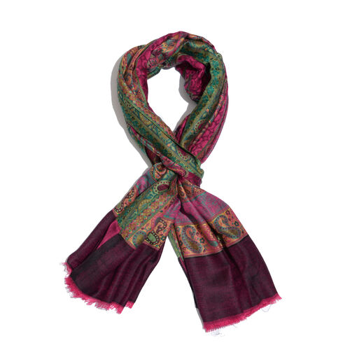 100% Modal Dark Pink and Multi Colour Jacquard Scarf (Size 190x70 Cm)