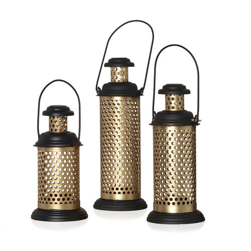 Home Decor - Set of 3 - Round Cut Work Hanging Lantern with LED T Light