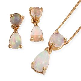 Ethiopian Welo Opal (Pear) Pendant With Chain and Earrings (with Push Back) in 14K Gold Overlay Sterling Silver 2.000 Ct.