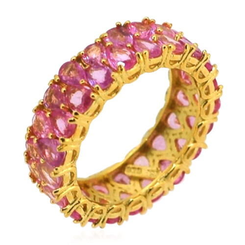 AA Pink Sapphire (Pear) Full Eternity Ring in 14K Gold Overlay Sterling Silver 7.400 Ct.